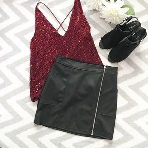 EXPRESS | Black Pleather mini skirt